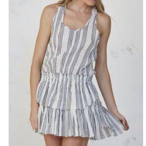 LoveShackFancy Striped Racerback Ruffle Mini Dress